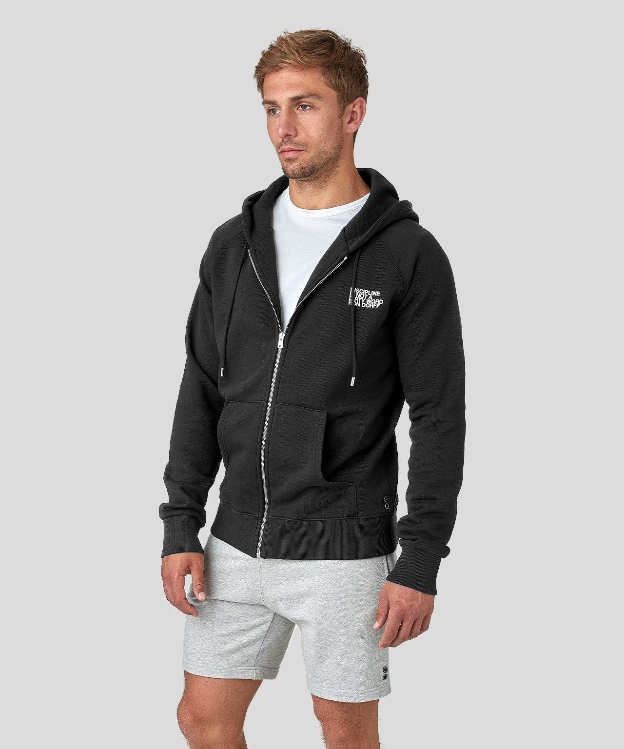 Ron Dorff DISCIPLINE smll prnt zipped hoody Black