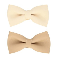 Your Little Miss Set of two leather bow hairclips cream and beige