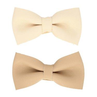 Your Little Miss Set mit zwei Baby Haarspangen mit creme- und beigefarbener Lederschleife