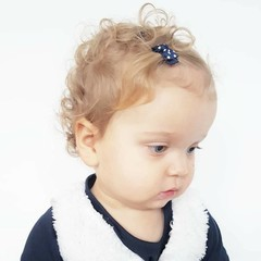 Your Little Miss Donkerblauwe baby haarspeldjes met strik en stipjes