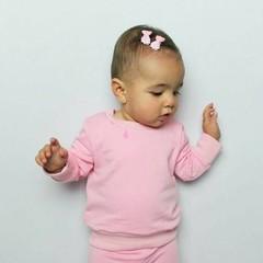 Your Little Miss Roze en witte baby haarspeldjes met dubbele satijnen strik