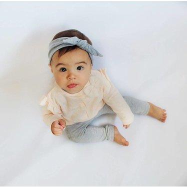 bandeau bébé avec bouton gris - your little miss