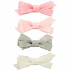 Your Little Miss Set of hair clips with satin bow tie pastel