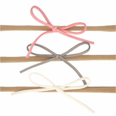 Your Little Miss Setje nylon haarbandjes met suede strik roze, wit, grijs