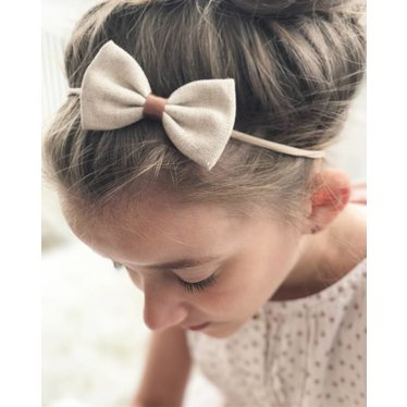 Your Little Miss Girls headband with linen bow