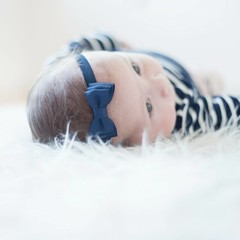 Your Little Miss Dark blue baby headband with double bow