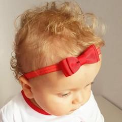 Your Little Miss rotes Baby Haarband mit Doppelschleife und dünnem Bändchen