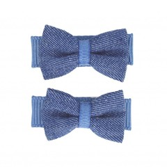 Your Little Miss Denim baby hair clips with bow