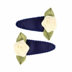 Your Little Miss Dark blue satin baby hair clips with rose