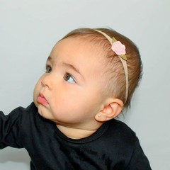 Your Little Miss Nylon baby hair band with pink felt rose