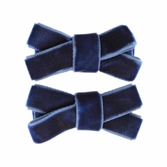 Your Little Miss Set of two baby hair clips blue velvet