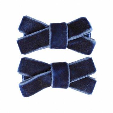 Your Little Miss Set mit zwei Samt Baby Haarspangen in blau