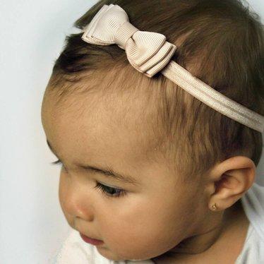 Your Little Miss Champagnekleurig baby haarbandje met dubbele strik