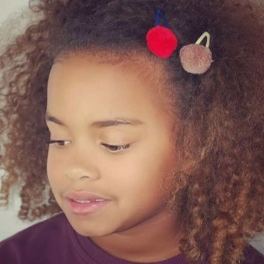 Your Little Miss Pompom hair clips red & blue