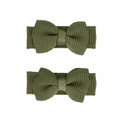 Your Little Miss Olive green baby Hair clips with bow