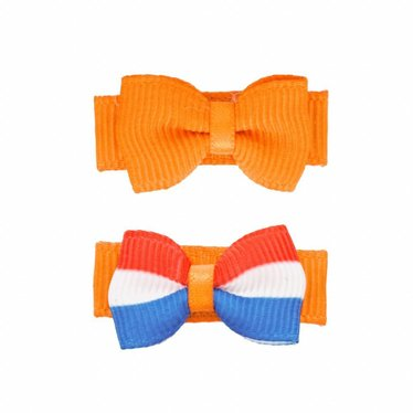 Your Little Miss King's day baby Hair clips orange