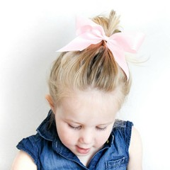 Your Little Miss Hair bow with elastic pink satin