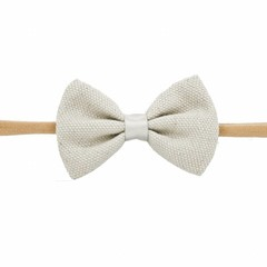 Your Little Miss Girls headband with gray linen bow