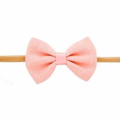 Your Little Miss Meisjes haarband met roze linnen strik