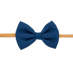 Your Little Miss Girls headband with dark blue linen bow
