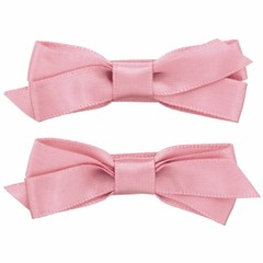Your Little Miss Hair clips with satin bow old pink