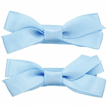 Your Little Miss Hair clips with satin ribbon bluebell