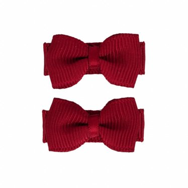 Your Little Miss Baby hair clips with bow wine red