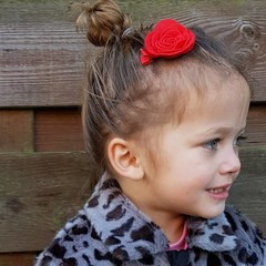 Your Little Miss Red Hair clip with felt flower