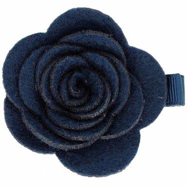 Your Little Miss Hair clip with dark blue felt flower