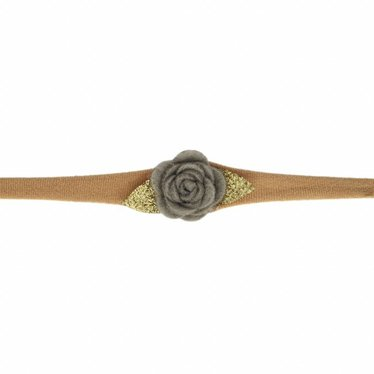 Your Little Miss Nylon baby headband with gray felt rose