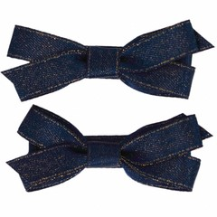 Your Little Miss Fermagli per capelli con fiocco in raso blu scuro e dorato