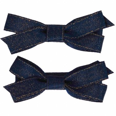 Your Little Miss Hair clips with dark blue and gold satin bow