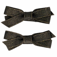 Your Little Miss Hair clips with anthracite and gold satin bow