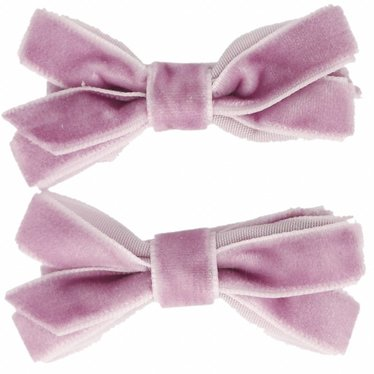 Your Little Miss Hair clips with velvet bow light purple