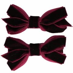 Your Little Miss Haarspeldjes met velvet strik dark purple