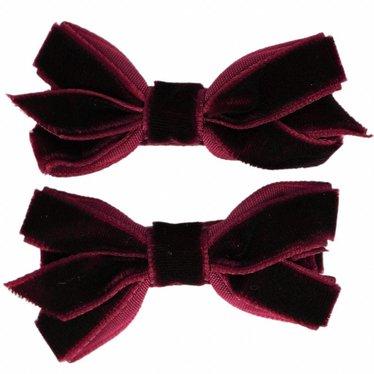 Your Little Miss Haarspangen mit Samtschleife dunkelviolett