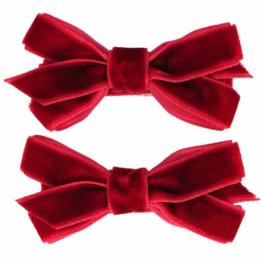Your Little Miss Hair clips with velvet bow scarlet