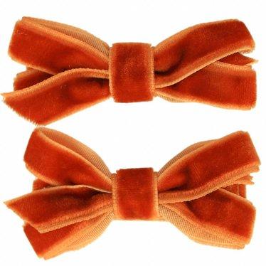 Your Little Miss Haarspangen mit Samtschleife Mandarine