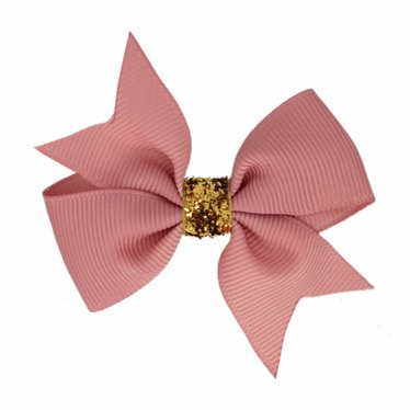 Your Little Miss Hair bow glitter old pink