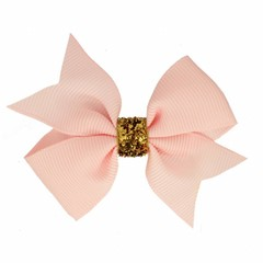Your Little Miss Hair bow glitter light pink