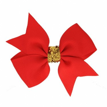 Your Little Miss Hair bow glitter hot red