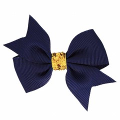 Your Little Miss Hair bow glitter navy