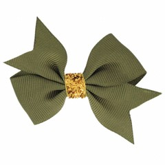 Your Little Miss Hair bow glitter dark olive