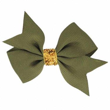 Your Little Miss Haarschleife glitter dunkel oliv