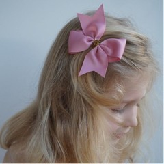 Your Little Miss Large hair bow glitter old pink