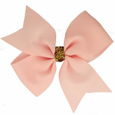 Your Little Miss Large hair bow glitter light pink