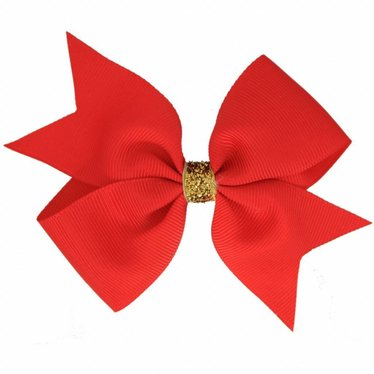 Your Little Miss Big hair bow glitter hot red