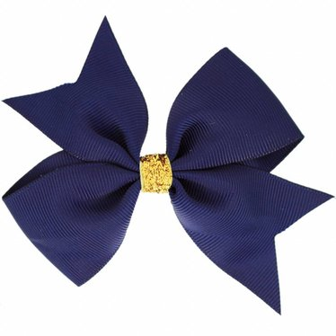 Your Little Miss Large hair bow glitter navy