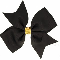 Your Little Miss Large hair bow glitter black