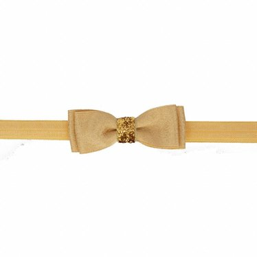 Your Little Miss Baby hair band with double bow gold sparkle